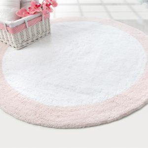 Круглый коврик в ванную Irya TULLY BEYAZ-PEMBE 90 см. диаметр