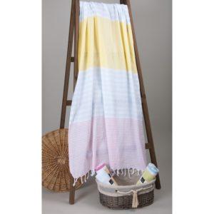 Пляжное полотенце Barine Pastemal Stripy Peach-It. Blue-Yellow 95×175
