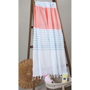 Пляжное полотенце Barine Pastemal Stripy Lt.Blue-Mint-Papaya 95×175