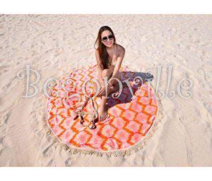 Круглое пляжное полотенце Begonville Ripple 3 150 см. диаметр (3645) Турция 70% хлопок