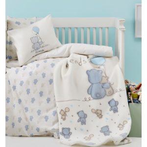 Детский Плед-Покрывало Karaca Home Blue Bears 100×120