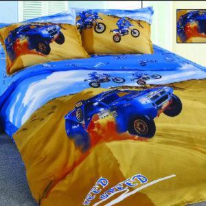 Детское постельное белье La Scala KI-45 Сатин 3D 160x205 Желтый|Синий