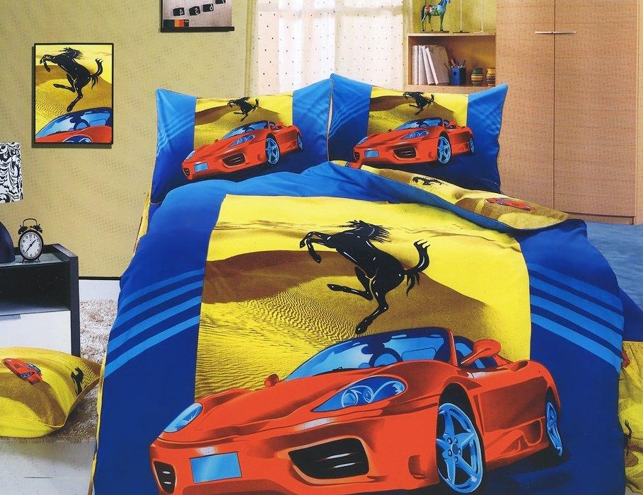 Детское постельное белье KI-70 3D 160x205 Синий|Желтый