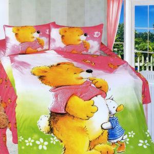 Детское постельное белье La Scala KI-72 Сатин 3D 160x205 Зеленый|Розовый