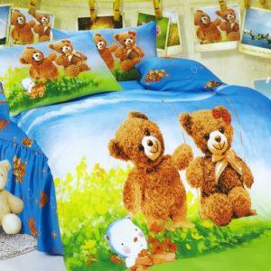 Детское постельное белье La Scala KI-80 Сатин 3D 160x205 Голубой