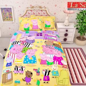 Постельное белье для детей La Scala KF-02 Сатин 3D 110x140 Желтый|Розовый