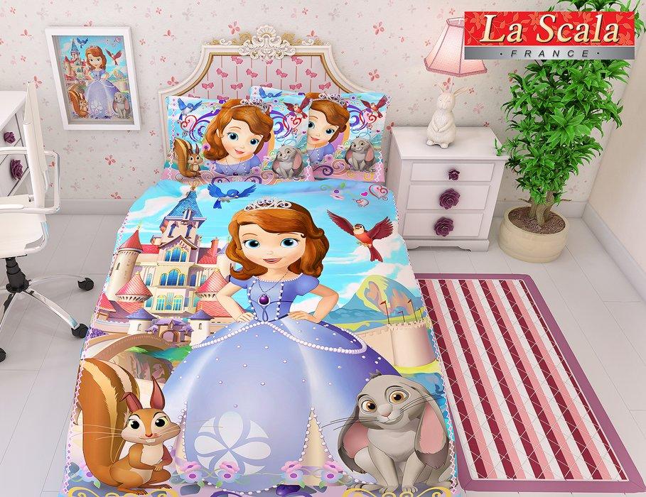 Постельное белье для детей La Scala KF-07 Сатин 3D  Голубой