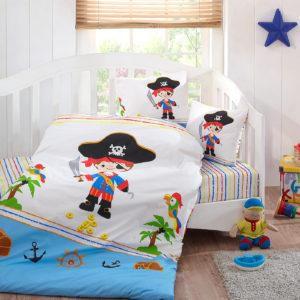 Детское постельное белье Class Pirat v1 100х150 (CB08007833) Белый|Голубой