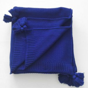 Плед вязанный SoundSleep Olvia темно-синий 140х180