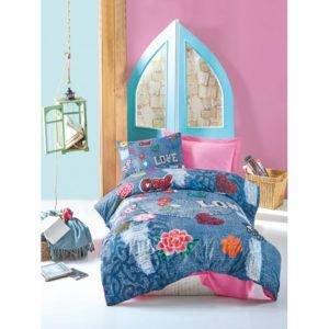 Подростковое постельное белье Cotton Box KELLY PEMBE 160x220 (CB08007781) Синий