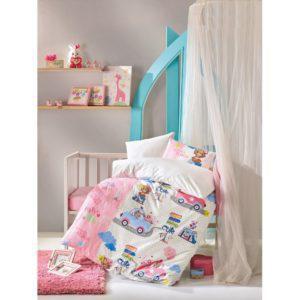 Постельное белье Cotton Box для новорожденных Sevimli Seyahat Pembe 100x150 (CB08007786) Розовый
