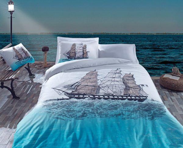 Постельное белье Cotton Box SHIP  MAVI 200x220 (CB010077213) Голубой