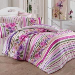 Постельное белье Majoli Bahar teksil Carolin v2 Lila 200x220 (CB010078244) Розовый