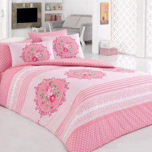 Постельное белье Majoli Bahar teksil Krayn v1 Pembe 200x220 (CB01007889) Розовый