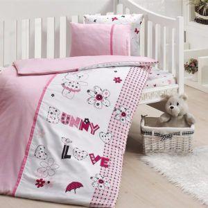 Детское постельное белье в кроватку First Сhoice Love Bunny 100x150 (m013961) Розовый
