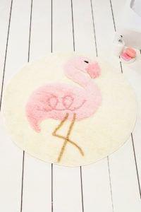 Круглый коврик Chilai Home Pink Flamingo Yuvarlak 90 см. диаметр (CB110069119) Кремовый|Розовый