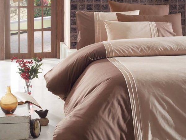 Однотонное постельное белье First Сhoice Dlx 04- Craze-Ekru 200x220 (m011926) Коричневый
