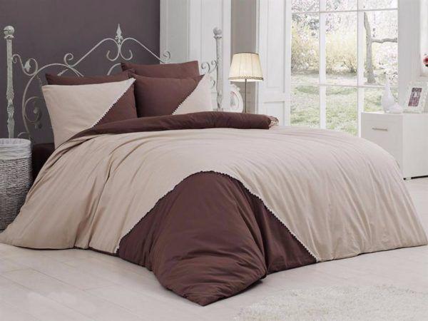 Однотонное постельное белье First Сhoice Jenna Ekru 200x220 (m012947) Бежевый|Коричневый
