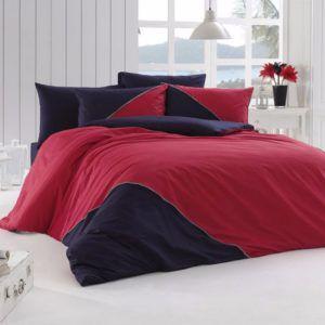 Однотонное постельное белье First Сhoice Jenna Kirmizi 200x220 (m012601) Красный|Синий
