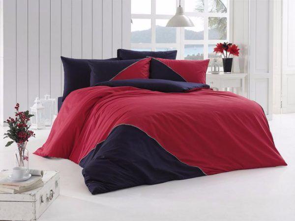 Однотонное постельное белье First Сhoice Jenna Kirmizi 200x220 (m012601) Красный Синий