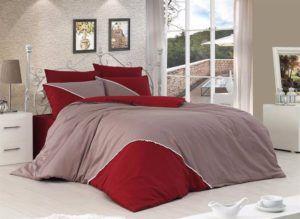 Однотонное постельное белье First Сhoice Jenna Vizon 200x220 (m012946) Серый|Красный