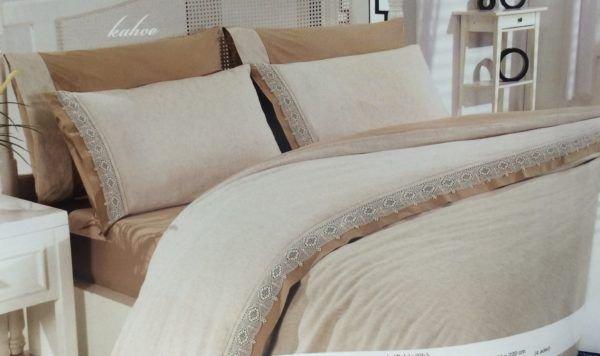 Постельное Белье Лен Altinbasak Cream 200x220 (m010971) Кремовый