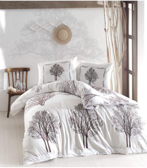 Постельное Белье Ранфорс Altinbasak Tree Kahve 200x220 (m013432) Белый