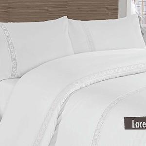 Постельное Белье Сатин Altinbasak Lace Beyaz 200×220