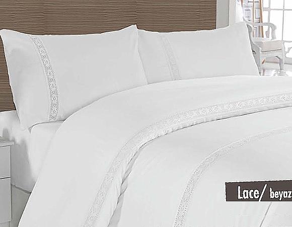 Постельное Белье Сатин Altinbasak Lace Beyaz 200x220 (m003645) Белый
