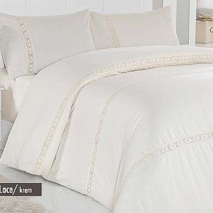 Постельное Белье Сатин Altinbasak Lace Cream 200x220 (m003646) Кремовый