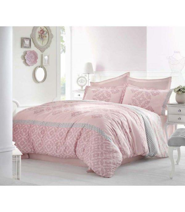 Постельное Белье Altinbasak Сатин Alona Pembe 200x220 (m012086) Розовый