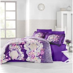 Постельное Белье Altinbasak Сатин Elvin Mor 200x220 (m012066) Фиолетовый