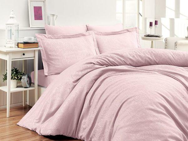 Постельное белье Жаккард First Сhoice Sare Pembe 200x220 (m014132) Розовый