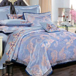 Постельное белье с вышивкой Love You Жаккард 1-34. 200x220 (m013927) Голубой