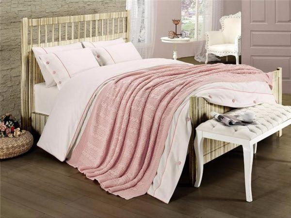 Постельное белье с пледом First Сhoice Nirvana Style Pudra 200x220 (m013648) Розовый