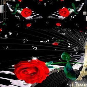 Постельное белье Love you Сатин 3D мелодия  (m004772) Черный