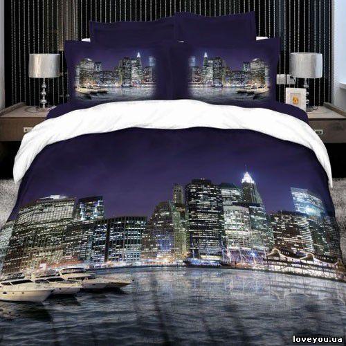 Постельное белье Love you Сатин 3D ночной город 160×220 (2 шт)