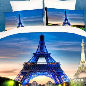 Постельное белье Love you Сатин 3D париж  (m004335) Синий
