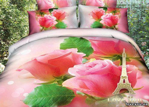 Постельное белье Love you Сатин 3D розочки 160×220 (2 шт)