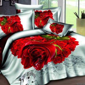 Постельное белье Love you Сатин 3D счастье  (m009579) Красный
