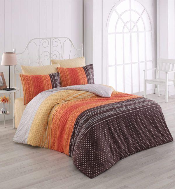 Постельное белье Majoli Summer v2 Oranj 200x220 (CB010078232) Оранжевый|Коричневый