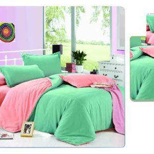 Постельное белье Valtery MO-4 200x220 (CB010082115) Зеленый|Розовый