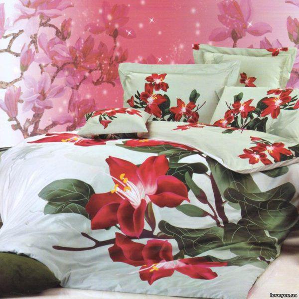 Постельное белье Love you Сатин 3D магнолия  (m009487) Белый|Красный
