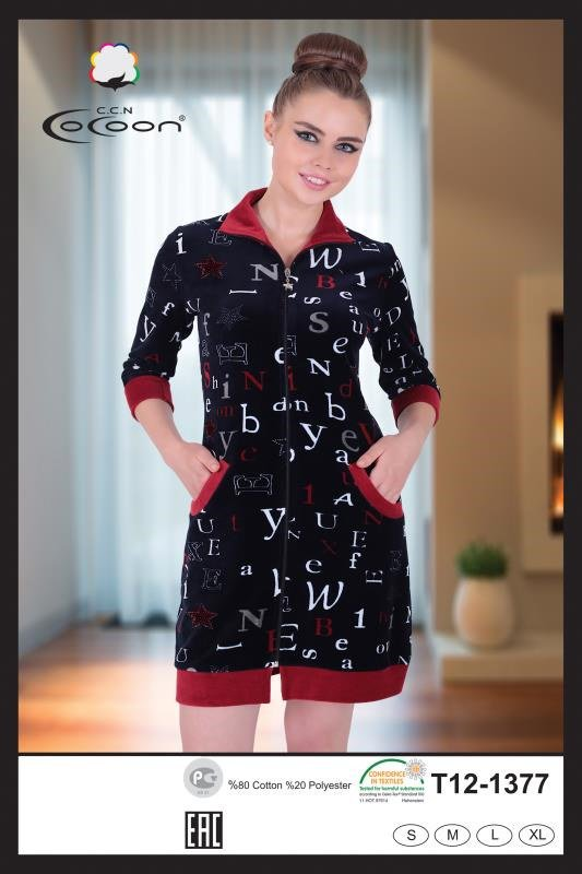 Женский халат Cocoon 12-1377 m013347 S (m013347) Черный