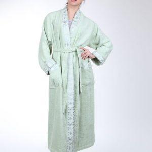 Женский халат Mariposa фисташка кант: классик m007247