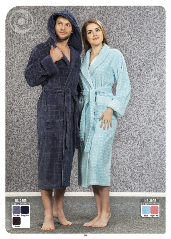 Мужской халат Nusa ns 2855 серый m012612  (m012612) Синий