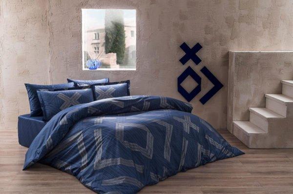 Купить Постельное белье TAC сатин Delux - Bellamy lacivert 200x220 (sv-2000022189927) Синий