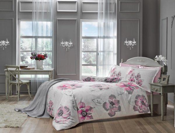 Купить Постельное белье TAC сатин Delux - Peony pembe v1  (sv-8696048443224-v) Розовый