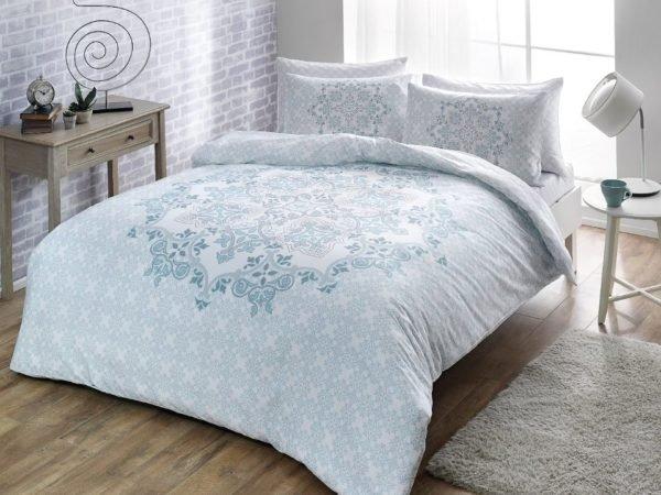 Купить Постельное белье TAC сатин - Hazel mavi 160x220 (sv-2000022188890) Голубой