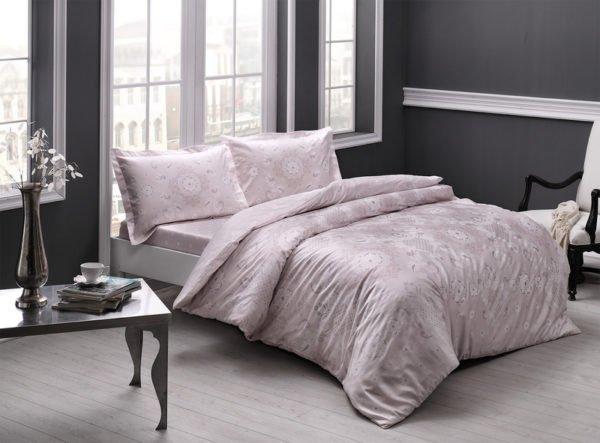 Купить Постельное белье TAC сатин - Lucca pudra v52 200x220 (sv-2000022189828) Розовый
